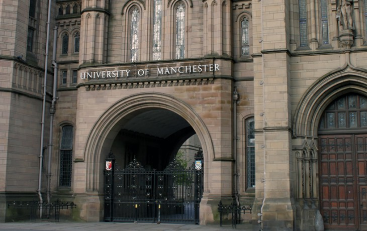 The front entrance of Manchester University's grand 'Whitworth Hall'.